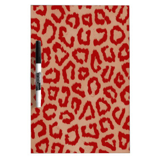 Red Leopard Skin Art Dry Erase Board