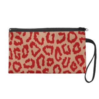 Red Leopard Skin Art Wristlet Bag