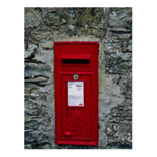 red letter box mounted on wall postcard