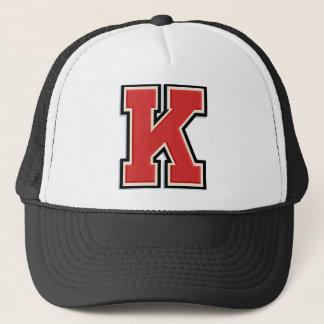 """Red Letter """"K"""" Initial Trucker Hat"""