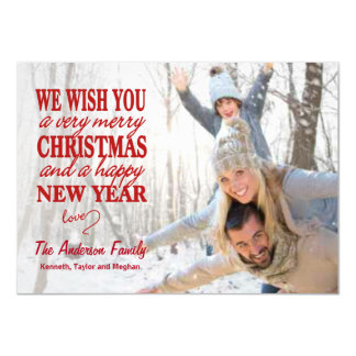 Red Lettered Merry Christmas Full-Bleed Flat Cards