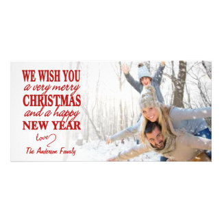 Red Lettered Merry Christmas Full-Bleed Photo Card