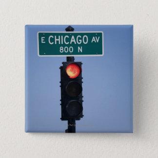 Red light, Chicago Illinois, USA 15 Cm Square Badge
