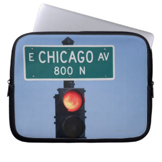 Red light, Chicago Illinois, USA Laptop Sleeve