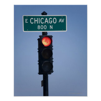 Red light, Chicago Illinois, USA Poster