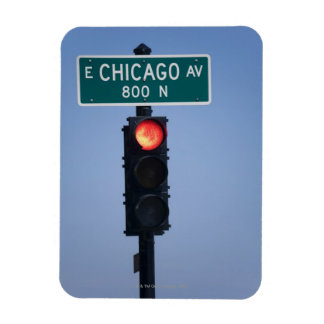Red light, Chicago Illinois, USA Rectangular Photo Magnet