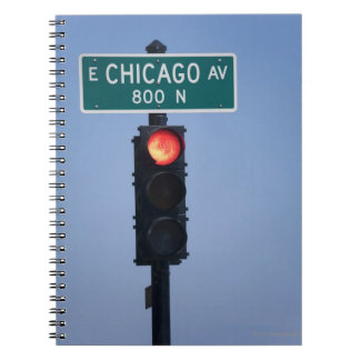 Red light, Chicago Illinois, USA Spiral Note Book