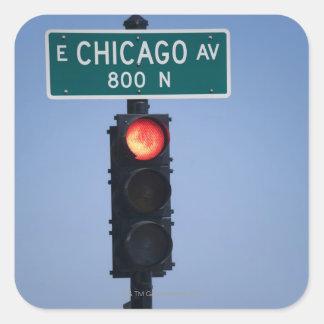 Red light, Chicago Illinois, USA Square Sticker