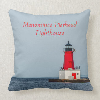 Red Lighthouse at End of Pier on Lake Michigan Cushion