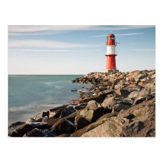 Red lighthouse in Warnemuende Postcard