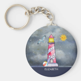 Red Lighthouse with a Stormy Background Key Ring
