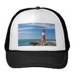 Red lighthouse with blue sky trucker hat