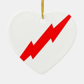 Red Lightning Ceramic Heart Decoration