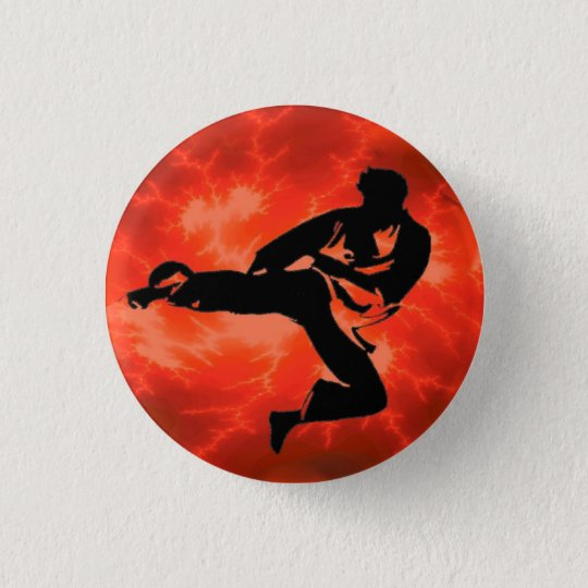 Red Lightning Man Button