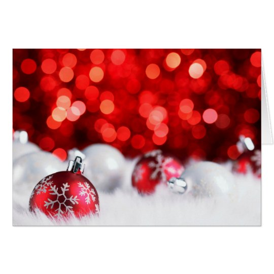 Red Lights and Snow Christmas Card