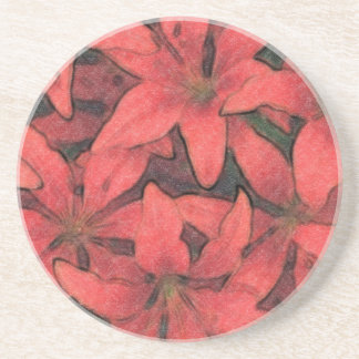 Red Lilies Drink Coaster