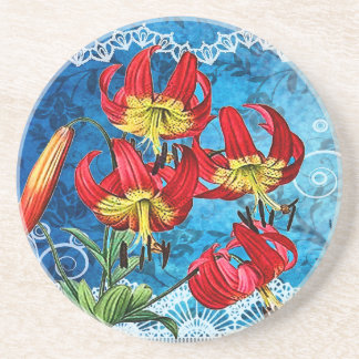 Red Lilies on Blue Vintage Collage Coaster