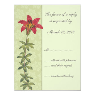 Red Lilly Floral Wedding Invitation