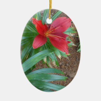 Red Lily Christmas Ornament