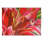 Red Lily Hand Painted Elegant Notecards