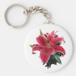 RED LILY-KEYCHAIN BASIC ROUND BUTTON KEY RING