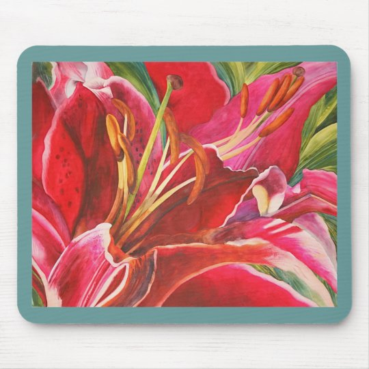 Red Lily Watercolor Artist's Computer Mousepad