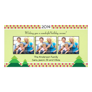 Red & Lime Green, 3 Photo Frame Christmas Picture Card
