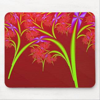 Red Lime Green and Purple Fractal Art Design Mouse Pad