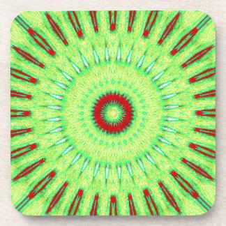 Red Lime Green Circular Mandela Pattern Beverage Coasters