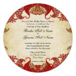 Red, Lime & Orange Vintage Paisley Damask Wedding Personalized Announcements