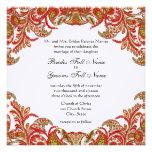 Red, Lime & Orange Vintage Paisley Damask Wedding Personalised Invitation