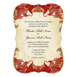 Red, Lime & Orange Vintage Paisley Damask Wedding Personalised Announcements
