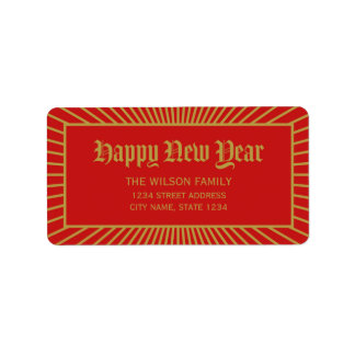 Red Lines Decorative Happy New Year Address Address Label