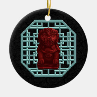 Red Lion Dog Pixel Art Christmas Ornament