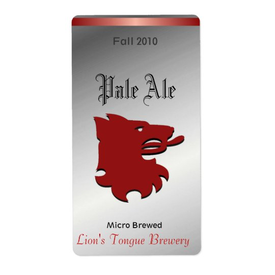 Red Lion Head Home brewed beer Labels