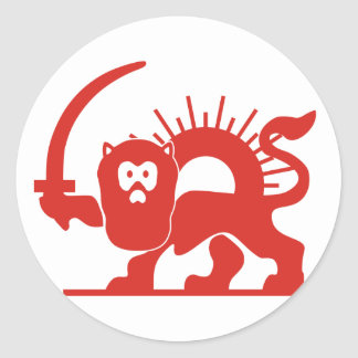 Red Lion With Sun, Iran Round Sticker
