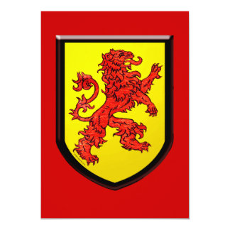 Red Lion Yellow Shield 13 Cm X 18 Cm Invitation Card