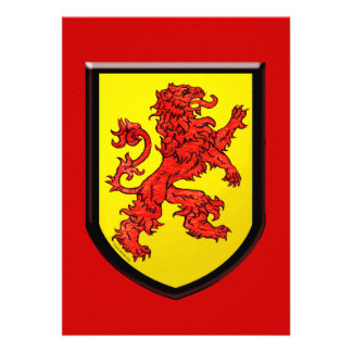 Red Lion Yellow Shield Personalized Invites