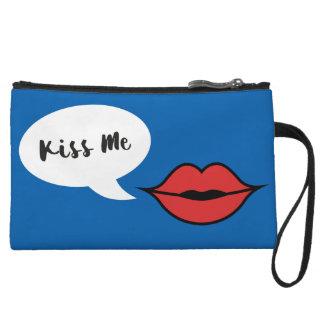 Red Lip 'Kiss Me' Wristlet