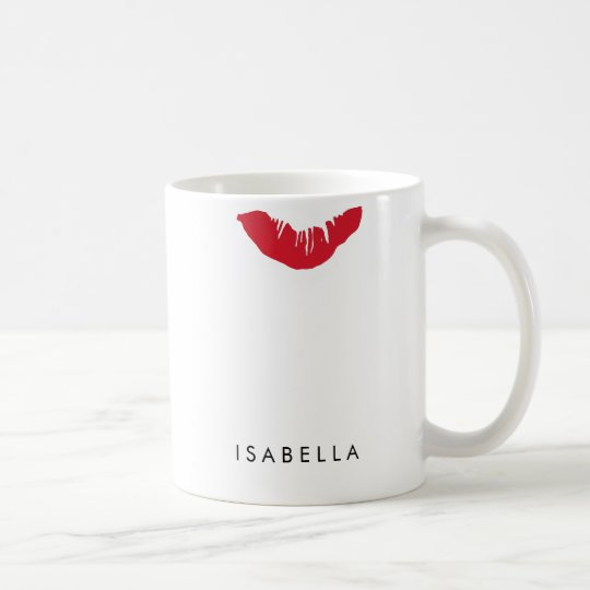 Red Lip Print Personalised Coffee Mug