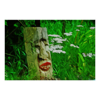 Red Lipped American Indian Totem Among Wildflowers Poster