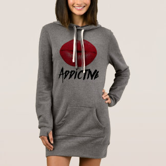 Red Lips Addictive Women's Sweatshirt Dress