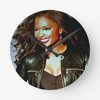"""Red Lips and Leather"" by Lanisha Cole Round Clock"