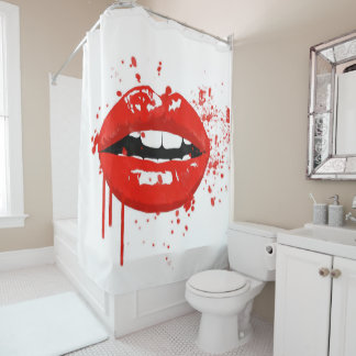 Red lips beauty makeup kiss fashion shower curtain