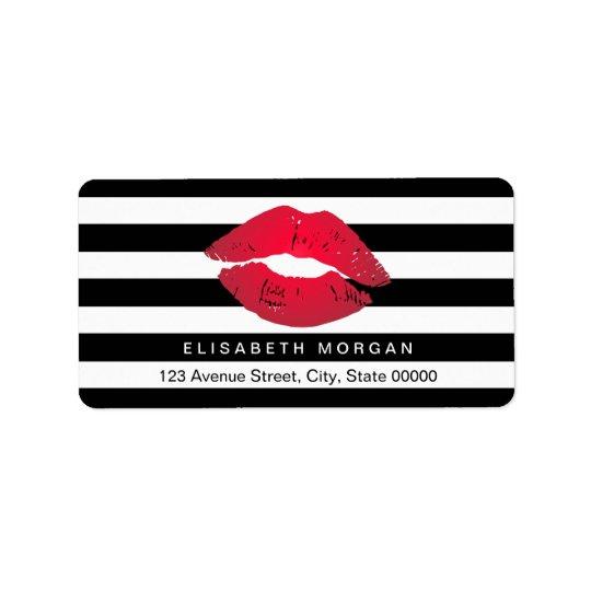 Red Lips Black White Stripes Label