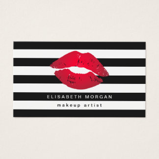 Red Lips Black White Stripes Modern Makeup Artist Business Card