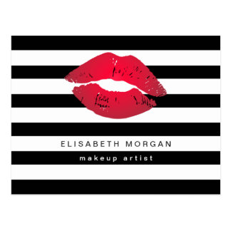 Red Lips Black White Stripes Modern Makeup Artist Postcard