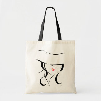 Red lips budget tote bag