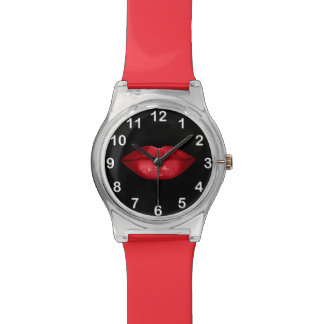 Red Lips Glitter Glamour Black Wrist Watches