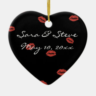 Red Lips Kiss Customizable Wedding Heart Ornament
